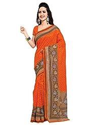 Triveni Indian Beautiful Bright Colored Printed Art Silk Saree