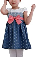 Allegra Kids Girls Cap Sleeve Dots Bowtie Dress