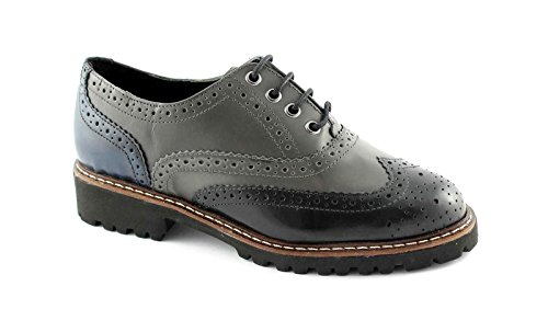 PREGUNTA IV5386 nero grigio scarpe donna francesina puntale inglese 39