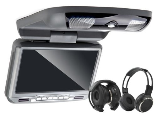 Car C0801 9 inch Flip Down Overhead Monitor built in DVD Player, grey color, built in Speaker and Sony Lens, Support 32 Bits Game, Support IR Headphone, support USB and SD Card, Free two IR Headphones, Free one Game Pad, UK local Delivery, 60 days Money back Guarantee