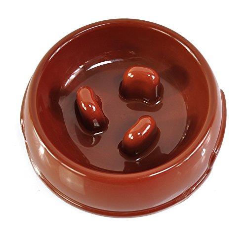 Lychee Bol Gamelle Anti-glouton interactive pour Faire Manger Lentement les Chien Anti-avalant Pet Feeder Bowl (Café, Petit)