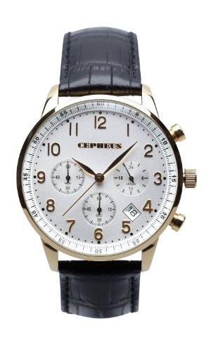 CEPHEUS - CP500-212 - Montre Homme - Quartz - Chronographe - Chronomètre - Bracelet cuir noir