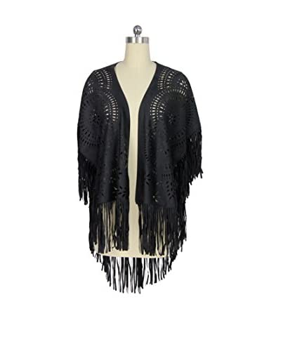 Saachi Women's Fringed Wrap, Black