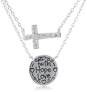 "Sterling Silver Duo Necks, Crystal Cross and ""Faith Hope Love"" Engraved Disc Necklace, 16""+2"" Extender"