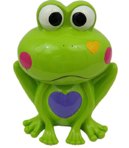 Adorable Green Frog Hearts Money Bank Piggy