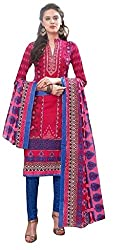PADMiNi Ethnicwear Women's Dress Material Pink Free Size