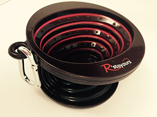 R'stoyours Collapsable, Silicone Pour Over Coffee Maker with Carabiner, Single Serve, Travel Size, Brown