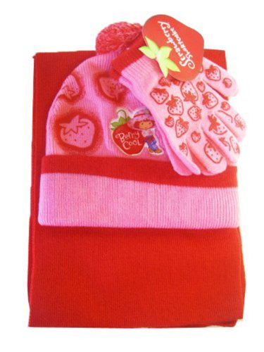 Berrt Cool Strawberry Shortcake Winter set- Gloves Scarf & Winter Hat [Toy] (Strawberry Shortcake Hat)