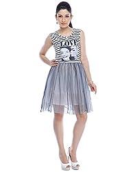 Designeez White Grey Black Graphic Print Shift Dress