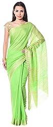 Mahek Women's Silk Saree with Blouse Piece (Lime Green)