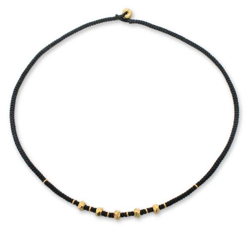 Gold plated braided necklace, 'Hill Tribe Splendor'