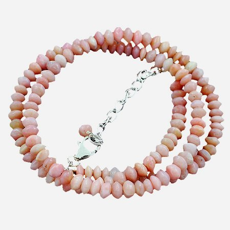 925 Sterling Silver Artisan Dark Pink Opal Gemstone Beads Strand Necklace Size 18 Inches