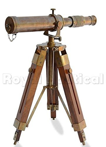 Nautical Brass Antique Telescope Spyglass With Wooden Stand Home Decor Gift 1