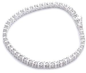Adara Silver Cubic Zirconia Tennis Bracelet of Length 18.5cm