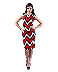 Envy Women's Blended Round Neck Dress (Red, Free Size)