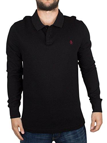 original-penguin-uomo-shirt-maniche-lunghe-slim-fit-waffle-anteriore-winston-logo-polo-nero-x-large