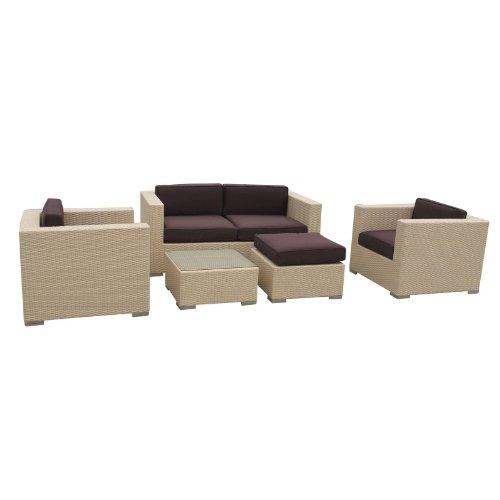 LexMod Malibu Outdoor Wicker Patio 5 Piece Sofa Set In Tan with Brown Cushions