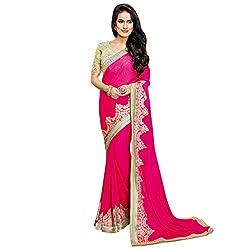 Vishal Pink Jaquard Heavy Embroidery work on Saree and Blouse Saree