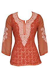 ADA Lucknawi Chikan Faux Georgette Exclusive Women Luxury Top Kurti Tunic Dress L121299