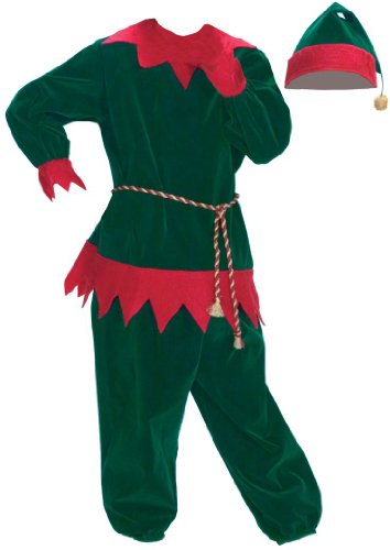 Halco Boys' Santa Helper Two Piece Velvet Elf Suit