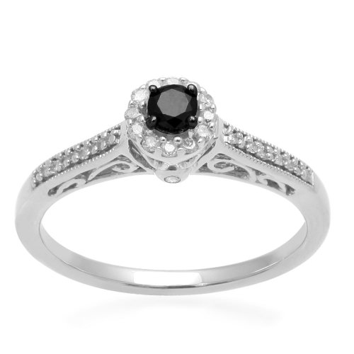 Sterling Silver Black and White Diamond Promise Ring (1/4 cttw, I-J Color, I3 Clarity), Size 7
