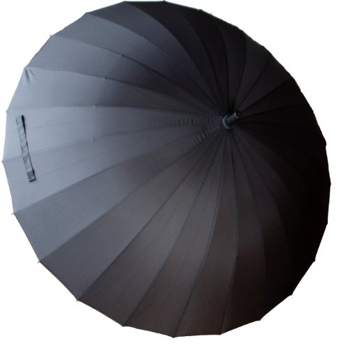 【BeryKoKo】 超撥水&悪天候に強い 大型 120cm 24本骨傘 長傘 色:ブラック 黒