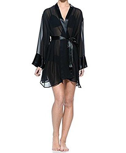 Sciara - Vestaglia woman nera, seta, XL