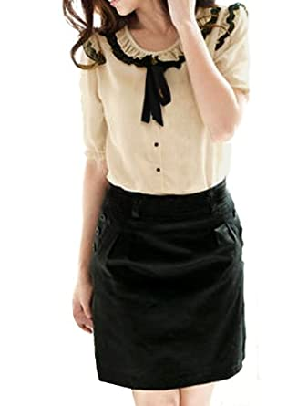 Allegra K Lady Ruffle Tie Neck Blouse Short Sleeve Button Down Shirt Summer Tops
