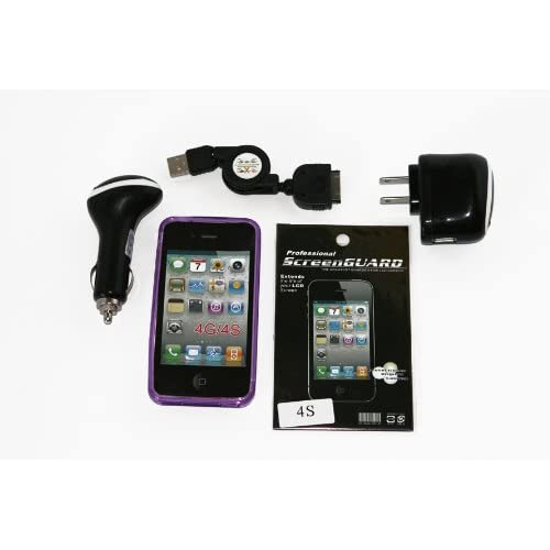 Cell Factory Outlet Brand  High Quality iphone 4/4s Purple Tpu Case, Car Charger, Home Charger, Sync Cable, Screen Protector Combo Pack