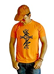LetsFlaunt Christ Cross T-shirt Boys Orange Dry-Fit-X-Large Nw