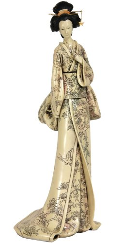 "Best Interesting Unusual Unique Mother's Day Gifts 2011 - 18"" Geisha Figurine Statue w/ Flower Vine Kimono"