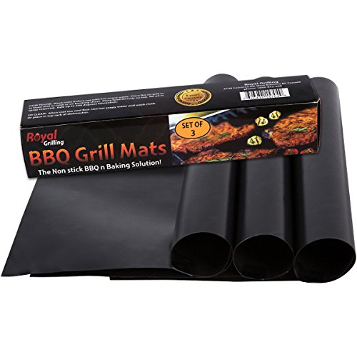 Grill Mats BBQ Grilling Solution - (Set of 3 mats)- Non Stick and Heavy Duty - Reusable and Dishwasher Safe. Satisfaction Guarantee (Bbq Mate Grill Set compare prices)