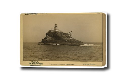 Tillamook Rock and Lighthouse OR Reproduction Canvas Art Print, Ready To Hang 24 X 16