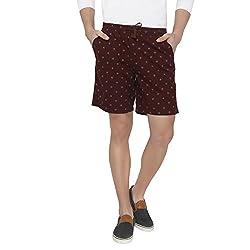 Origin Maroon Cotton Printed Shorts for Men