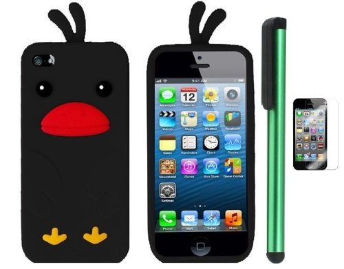 Buy  Black Funny Duck Silicone Skin Premium Design Protector Soft Cover Case Compatible for Apple Iphone 5 (AT&T, VERIZON, SPRINT) + Screen Protector Film + Combination 1 of New Metal Stylus Touch Screen Pen (4