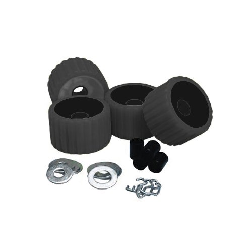 1 - C.E. Smith Ribbed Roller Replacement Kit - 4 Pack - Black