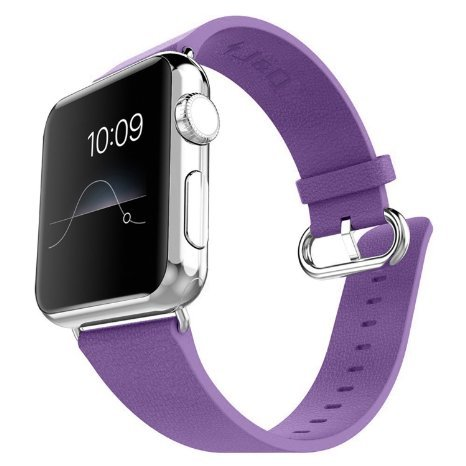 J 26D Tech Apple Watch Band, J&D [Modern Series] Genuine Leather Strap Wrist Band Replacement w/ Metal Clasp Adapter for Apple Watch All Models