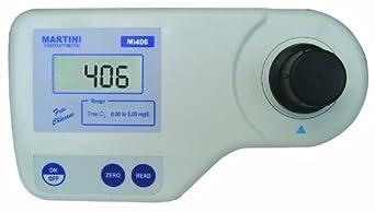 Milwaukee Mi406 Free Chlorine Colorimeter, 192mm Length x 104mm Width x 52mm Height, 0.00 - 5.00 mg/L, 0.01/0.10 mg/L Resolution, LCD Display