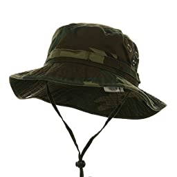 MG Men's Washed Cotton Twill Chin Cord Outdoor Hunting Hat (Camo Green, Medium)