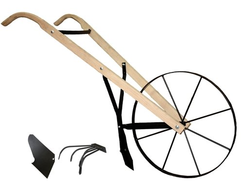Garden Cultivator Tiller Hand Plow With 24 Inch Steel Wheel And Wood Handle  Review