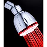 Single Color Fixed LED Illuminated Shower Head Finish: Chrome, LED Color: Red