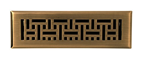 Accord AMFRABB210 Floor Register with Wicker Design, 2-Inch x 10-Inch(Duct Opening Measurements), Antique Brass (Antique Vent compare prices)