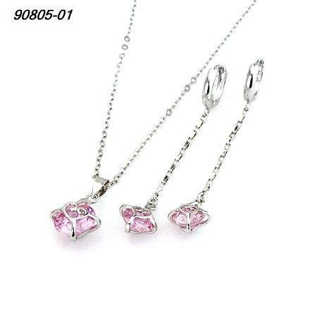 Pink Round Crystal with Heart Pendant & Chain and Matching Dangle Earrings Fashion Jewelry Set