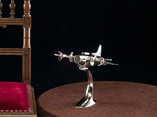 Model aeroplane in Art Deco style - aircraft memorabilia - silver colour