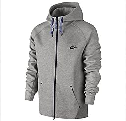 Nike Men\'s AW77 Tech Fleece Hoodie, Dark Grey Heather/Game Royal/Black, XS