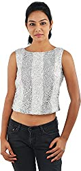 Renvoyer Women's Tops (RR15-1FC-1CR-T, Silver and Grey, 12)