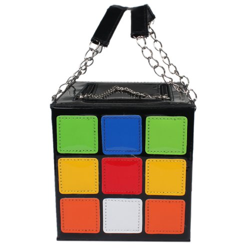 Enjoydeal Women's lovely Rubik's Cube Leather Handbag/Clutch Shoulder Bag With Inner Pocket