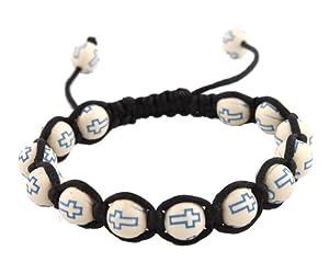 3 Pieces of White with Blue Cross Beaded Adjustable Bracelet Macrame Shamballah