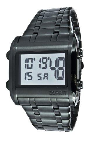Esprit ES102341004 - Reloj digital de cuarzo para hombre con correa de acero inoxidable, color negro