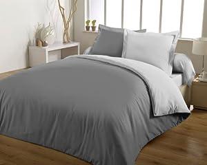 casatxu parure housse de couette 220x240cm 2 taies gris fonce gris clair cuisine. Black Bedroom Furniture Sets. Home Design Ideas